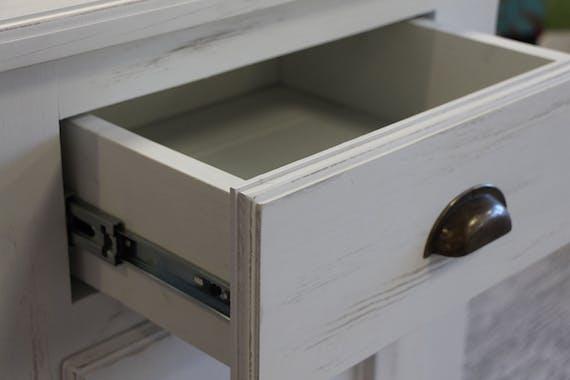 Buffet bas pin blanc cérusé 4 portes 4 tiroirs 213x50x90cm cm RIVAGE