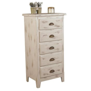 Chiffonnier pin blanchi 5 tiroirs 56x40x110cm RIVAGE