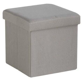 Pouf coffre de rangement pliant gris clair