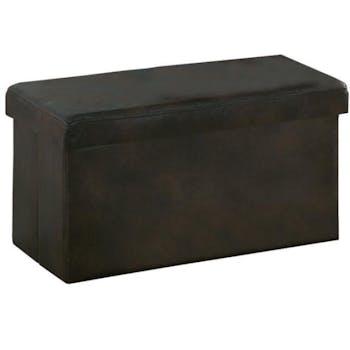 Banc coffre de rangement pliant microfibres marron 76,5x40,5x40,5cm