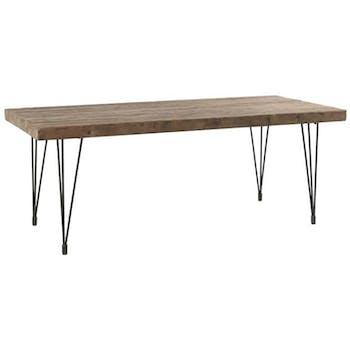 Table basse 120cm pin recyclé et fer vieilli LANDAISE