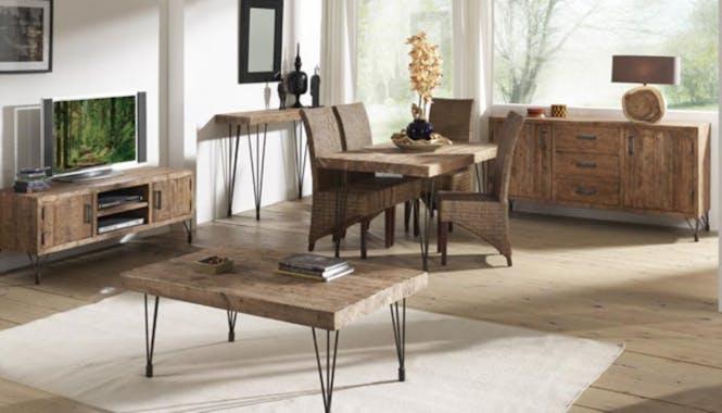 Table basse 110cm pin recyclé et fer vieilli LANDAISE