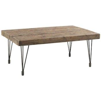 Table basse rectangle 69cm pin recyclé et fer vieilli LANDAISE