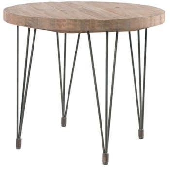 Table à manger ronde 90cm pin recyclé et fer LANDAISE