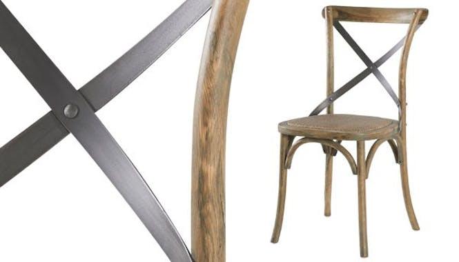 Chaise bistrot chêne et fer vieilli GASCOGNE
