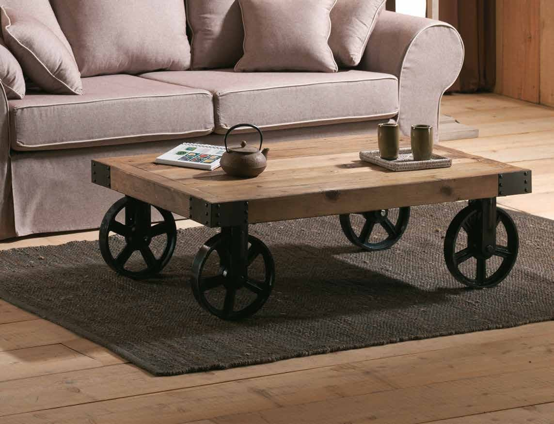 Table basse industrielle roulettes LANDAISE