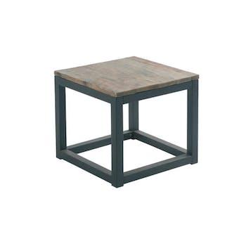 Table bout de canapé carrée Industriel 50cm Sapin recyclé SYNERGIE