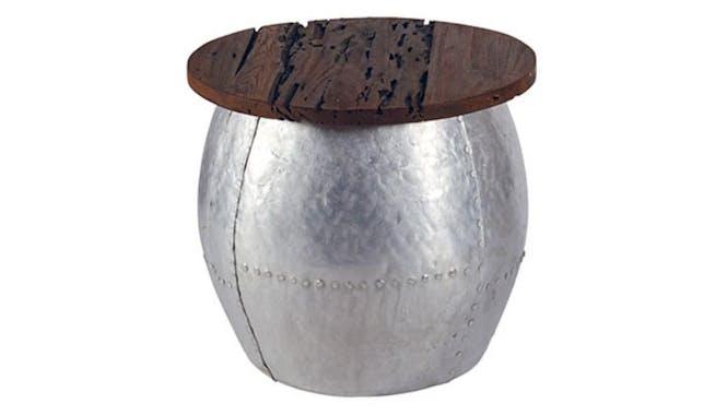 Table basse ronde Moderne Teck naturel 50 cm MARRAKECH