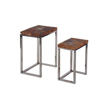 Tables gigogne Moderne 44cm Teck et Métal MARRAKECH (lot de 2)