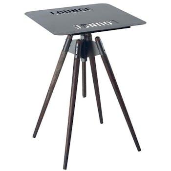 Table haute mange-debout Moderne 80cm Fer et Tanoak OREGON