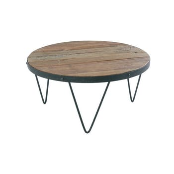 Table basse ronde Industrielle 80cm Orme recyclé SYNERGIE