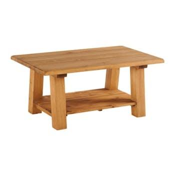 Table basse Pin massif ciré style campagnard 100 cm HANNOVER