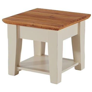 Table bout de canapé crème Bord de mer 50cm Chêne huilé BRIEUC