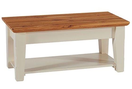 Table basse crème Bord de mer 100cm Chêne huilé BRIEUC