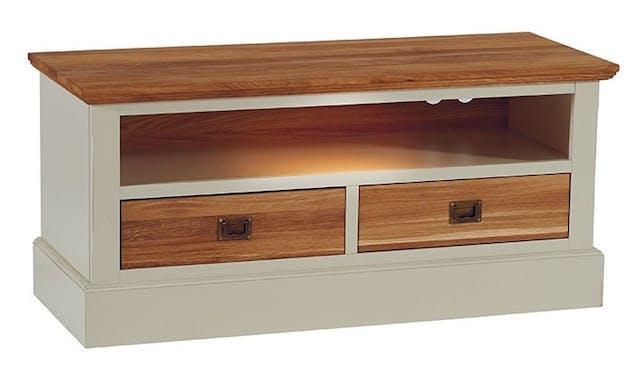 Meuble TV blanc bois massif petit modèle BRIEUC