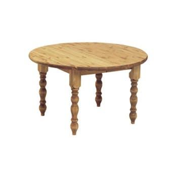 Table ronde pieds tournés 129/169cm Pin ciré HANNOVER
