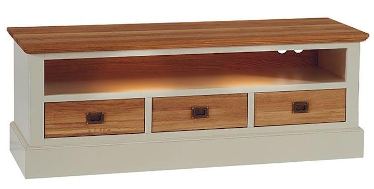 Meuble TV blanc bois massif grand modèle BRIEUC