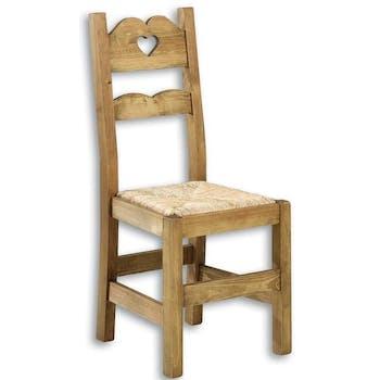 Chaise coeur 42x100cm Pin brossé et paille HANNOVER