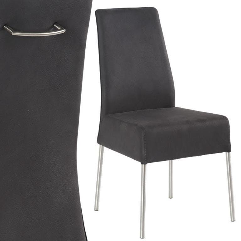 Chaise grise Moderne 60x100 Inox et microfibre