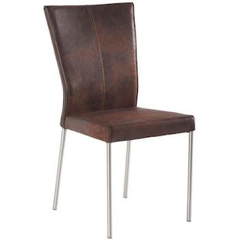 Chaise marron Moderne 60x100 Inox et microfibre