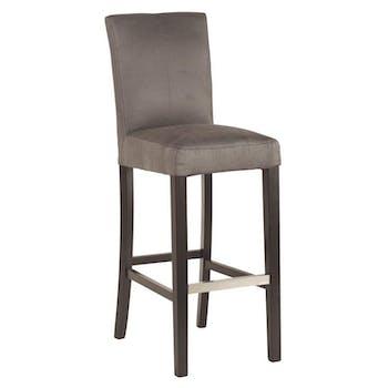 Chaise de bar grise 57x112 Pin, bouleau et microfibre