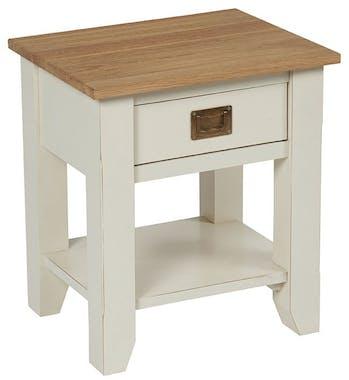 Table de chevet blanche crème bois BRIEUC