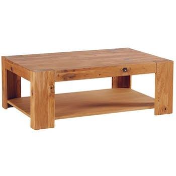 Table basse rectangulaire double plateau chêne huilé 110x70cm ROMEO