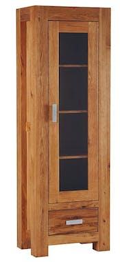 Vitrine chêne huilé 1 porte 1 tiroir 59x180x40cm DALLAS