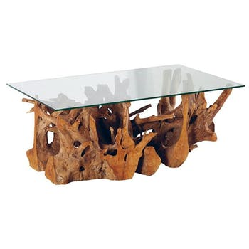 Table basse verre et racine Teck 120cm ARIZONA