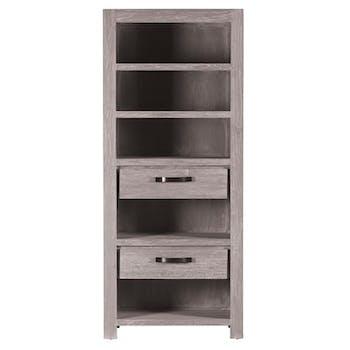 Bibliothèque moderne bois gris 2 tiroirs 85x44x200 ATLAGO