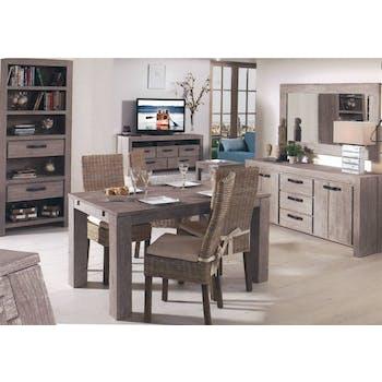 Table de repas moderne bois gris extensible 180x90x76 ATLAGO