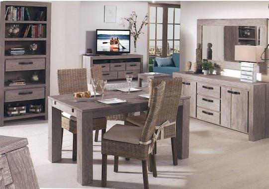Table basse carrée moderne bois gris taupe, 1 tiroir 60x60x45 ATLAGO