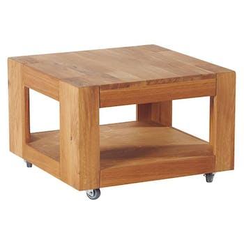 Table basse chêne double plateau avec roulettes 60x60x40cm ROMEO