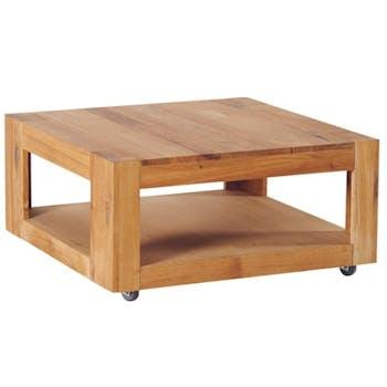 Table basse chêne double plateau roulettes 80x80x40cm ROMEO