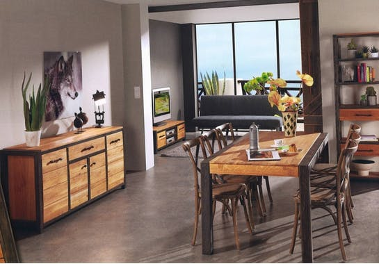 Buffet bois métal 2 portes FERSCOTT