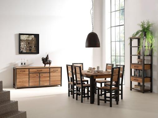 Table de repas chêne métal extensible 150x90x78 FERSCOTT