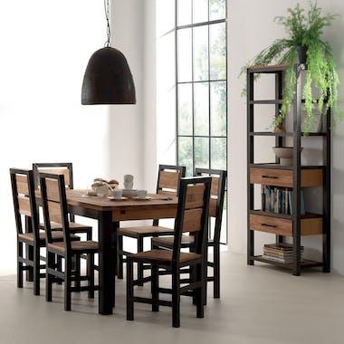 Table de repas chêne et métal extensible 180x90x78 FERSCOTT