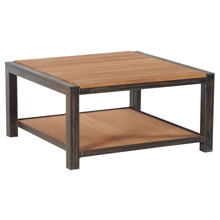 Table basse chêne et métal double  plateau 80x80x40 FERSCOTT