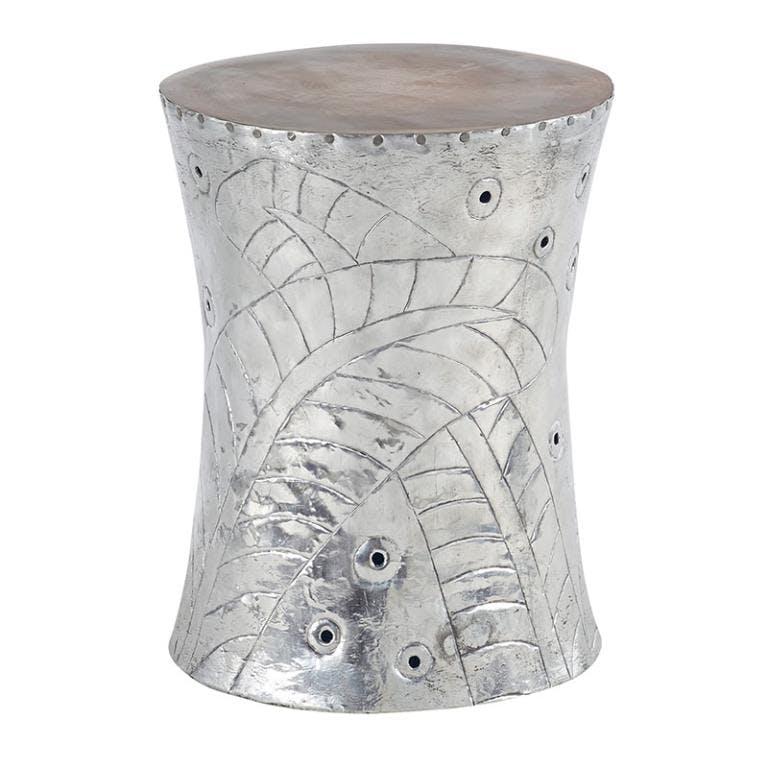 Tabouret concave teck et aluminum - H45cm MARRAKECH