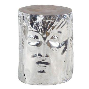 Tabouret bas 45cm en aluminium et teck - modèle visage MARRAKECH