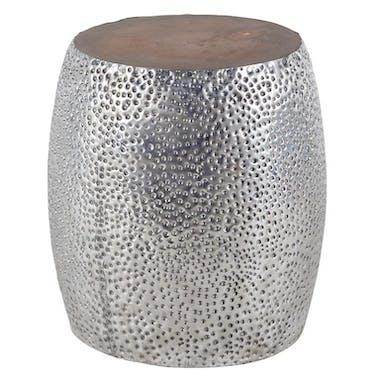 Tabouret 45cm - teck et aluminium - moucheté de bulles MARRAKECH