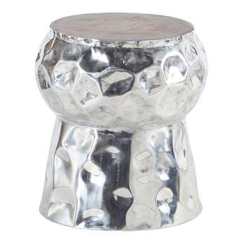 Tabouret H45cm -aluminum et teck forme champignon - MARRAKECH