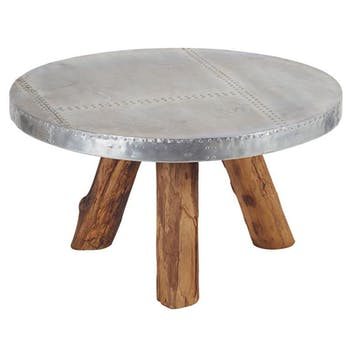Table basse ronde Teck et Aluminium 80x45 MARRAKECH