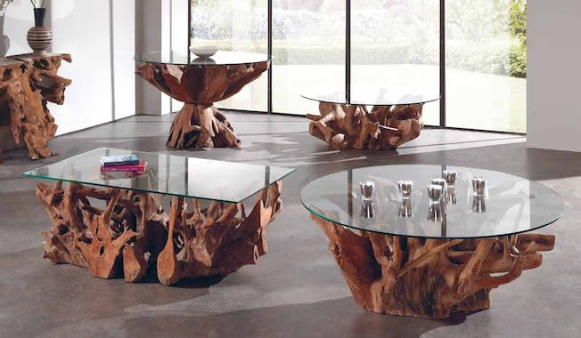Table basse ronde nature teck et verre 120x50 ARIZONA