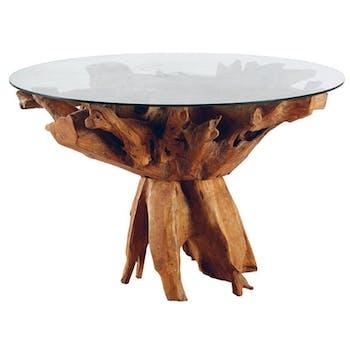 Table de repas ronde nature teck et verre 120x77 ARIZONA
