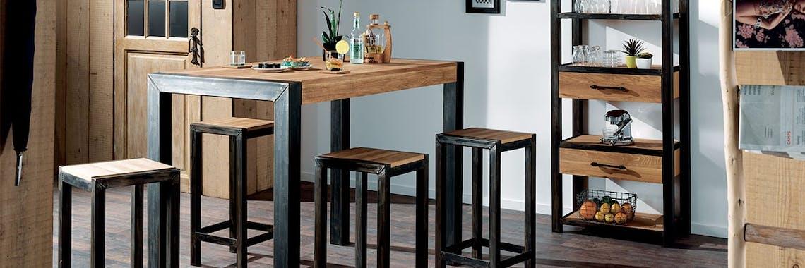 Table mange debout chêne et métal 120cm FERSCOTT