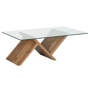 Table basse chêne huilé et verre 120cm VALLEY