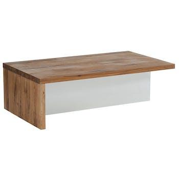 Table basse chêne huilé et vitre 120cm VALLEY