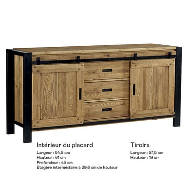 Buffet en pin massif 2 portes LOUNDGE