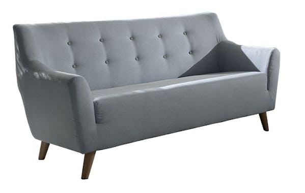 Canapé 3 places tissu bleu boutons gris COOPER